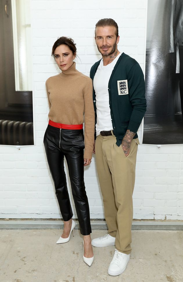 Victoria and David Beckham attend the Kent & Curwen SS18 LFWM Presentation on 11 June 2017 in London,