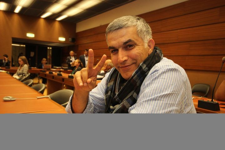 Bahrain human rights defender Nabeel Rajab, jailed a year ago today, who has managed to write articles from his prison cell.