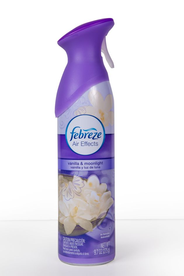 Picture is a spray bottle of Febreze Air Freshener against a white background. Made by Procter and Gamble,...