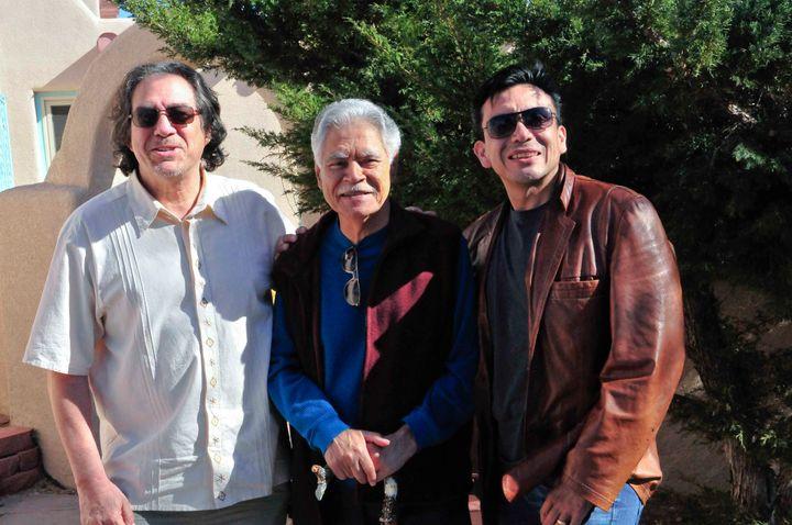 Writers Dagoberto Gilb, Rudolfo Anaya, and Tony Diaz during the Albuquerque stop of the 2012 Librotraficante Caravan. Both G
