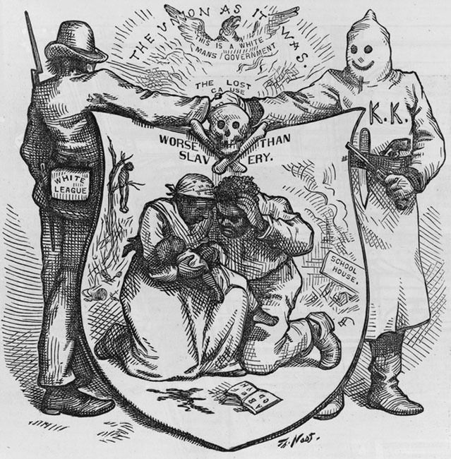 During Reconstruction cartoonist Thomas Nast denounced the White League and the Klan for creating conditions in the South he