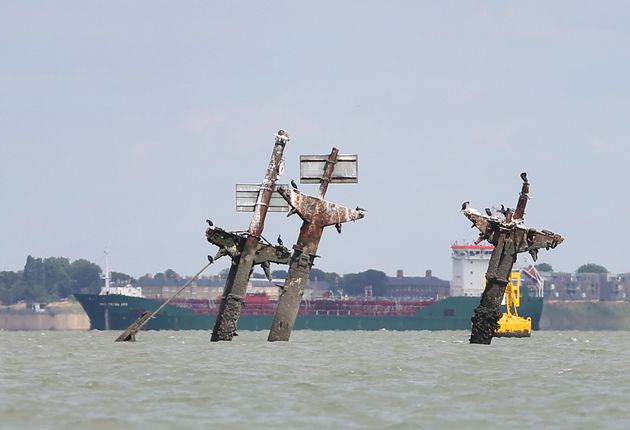 The masts of the SS Richard Montgomery, a cargo ship used during the World War II