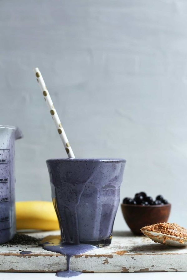 "<strong>Get the <a href=""https://minimalistbaker.com/blueberry-almond-butter-smoothie/"" target=""_blank"">Blueberry Almond Butt"