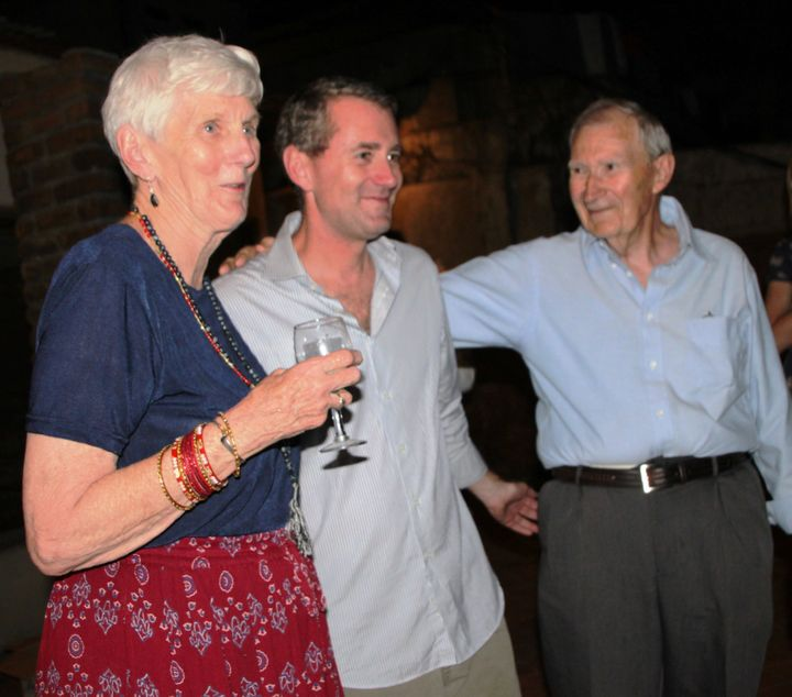 John Wood and his proud parents in Nepal at Room to Read's 10,000th library celebration in 2010.