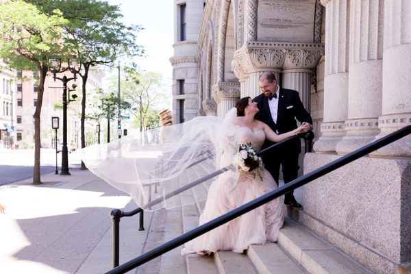 """""""Christine and Matt had a gorgeous (and windy) black-tie wedding at The Pfister Hotel in Milwaukee, Wisconsin."""" --<i>Mo"""