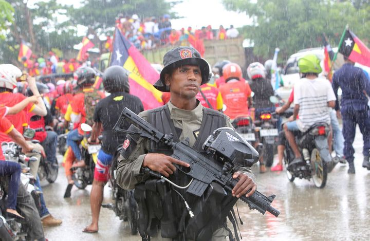 A police officer in the streets of Dili, Timor Leste. Lirio da Fonseca.