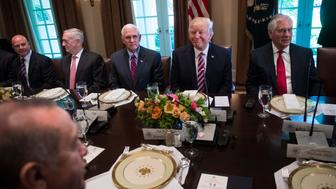 WASHINGTON, DC - MAY 16: President Donald Trump listens during a working luncheon with Turkish President Recep Tayyip Erdogan in the Cabinet Room of the White House in Washington, DC on Tuesday, May 16, 2017. From left, National Security Adviser H.R. McMaster, Secretary of Defense James Mattis, Vice President Mike Pence, Trump, and Secretary of State Rex Tillerson. (Photo by Jabin Botsford/The Washington Post via Getty Images)