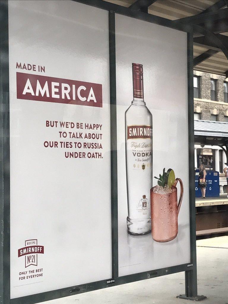 Smirnoff Vodka Hilariously Trolls Trump With New Bus Stop