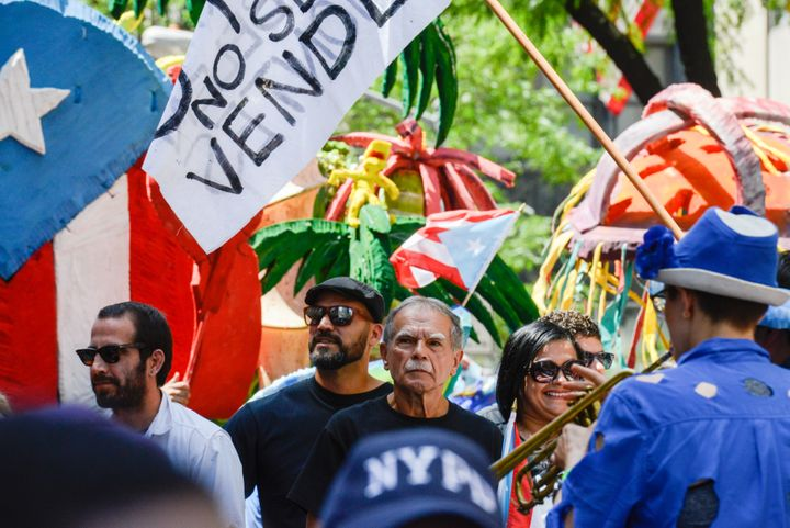 Oscar López Rivera participates in the annual Puerto Rican Day Parade on Fifth Ave.