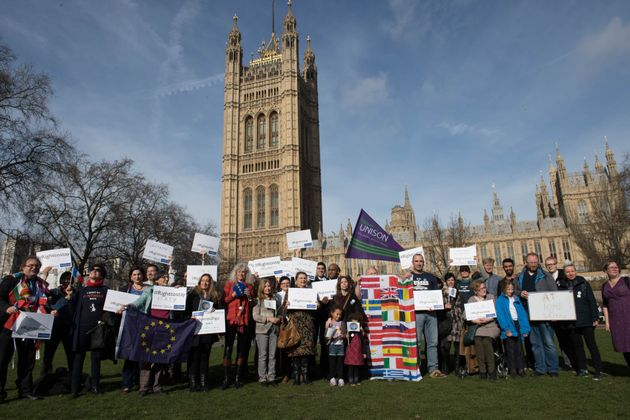 European workers including nurses, social workers and teaching assistants protest outside the Houses...