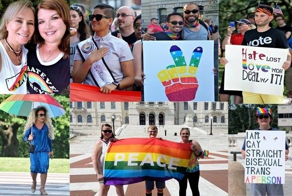 PVD Equality March for Unity and Pride Supporters - Caroline and Laurie Hart, Top Left, Leo Bottom Right