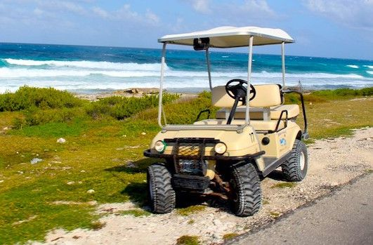 Typical Golf cart used to get around Isla Mujeres