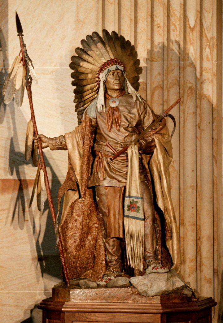 A statue of Chief Washakie in the Rotunda of the U.S. Capitol.