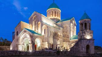 Bagrati Cathedral at night (another name The Cathedral of the Dormition) is a medieval church in Kutaisi, Georgia.