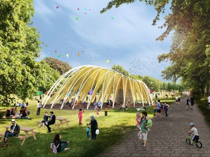 A rendering of the pop-up pavilion in Sweden, a place where refugees can receive training, connect with local nonprofits, and