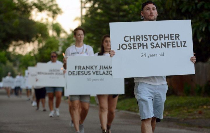 Marchers carried the Pulse victims' names through St. Petersburg