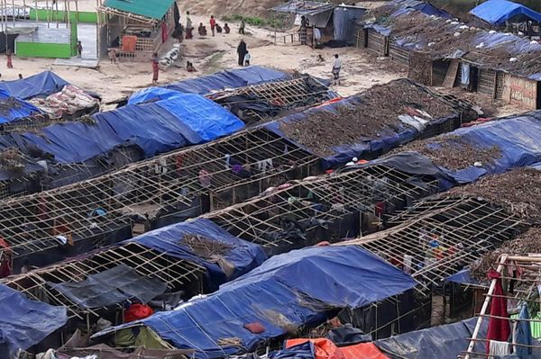 Houses belonging to Rohingya refugees and damaged by Cyclone Mora are seen at a camp in the Cox's Bazar district on May 31. T