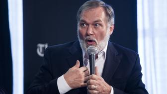 BOSTON - JUNE 24: Scott Lively speaks during the Boston Globe's independent party governor candidate debate on June 24, 2014 at the Boston Globe. (Photo by Zack Wittman for The Boston Globe via Getty Images)