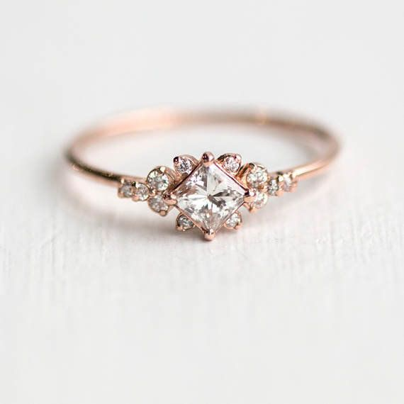 MelanieCaseyJewelry/Etsy. WEDDINGS. 16 Rose Gold Engagement Rings ...