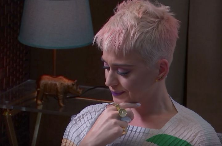 Katy Perry during a therapy session streamed live on YouTube Friday night.
