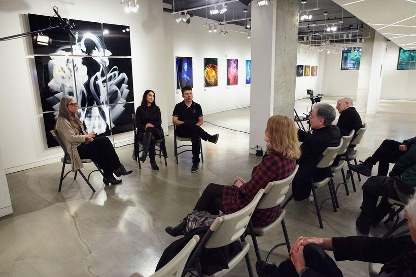 Enlighten (NYC Artist Muse Installation). Gallery talk with Shana Nys Dambrot, Sheinina Raj, and The Crystal Method. (Full vi