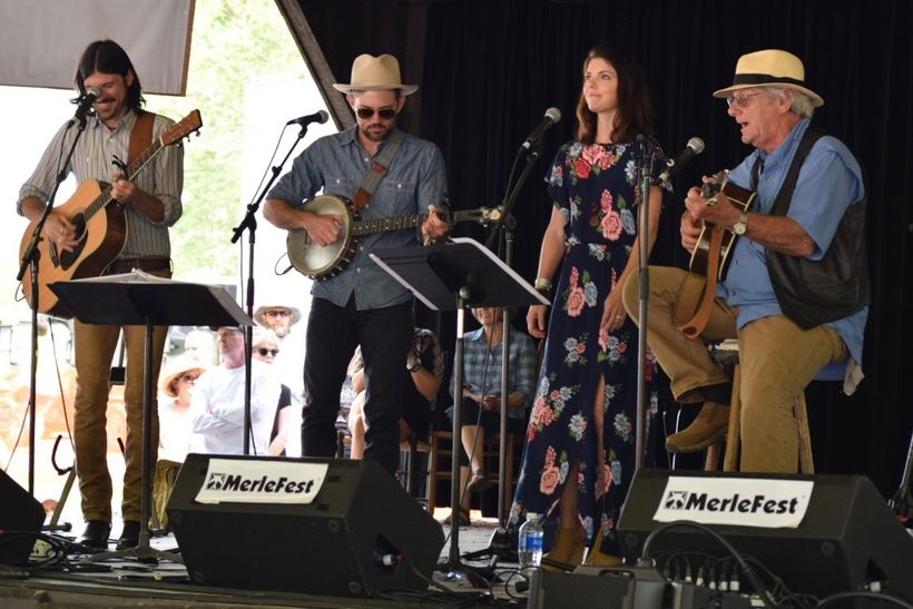 Seth Avett, Scott Avett, Bonnie Rini, and Jim Avett at MerleFest, April 30, 2017