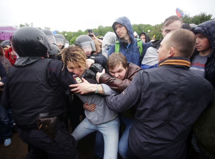 Protests were held in more than 100 cities, including in St. Petersburg, where up to 900 people were reportedly detained.