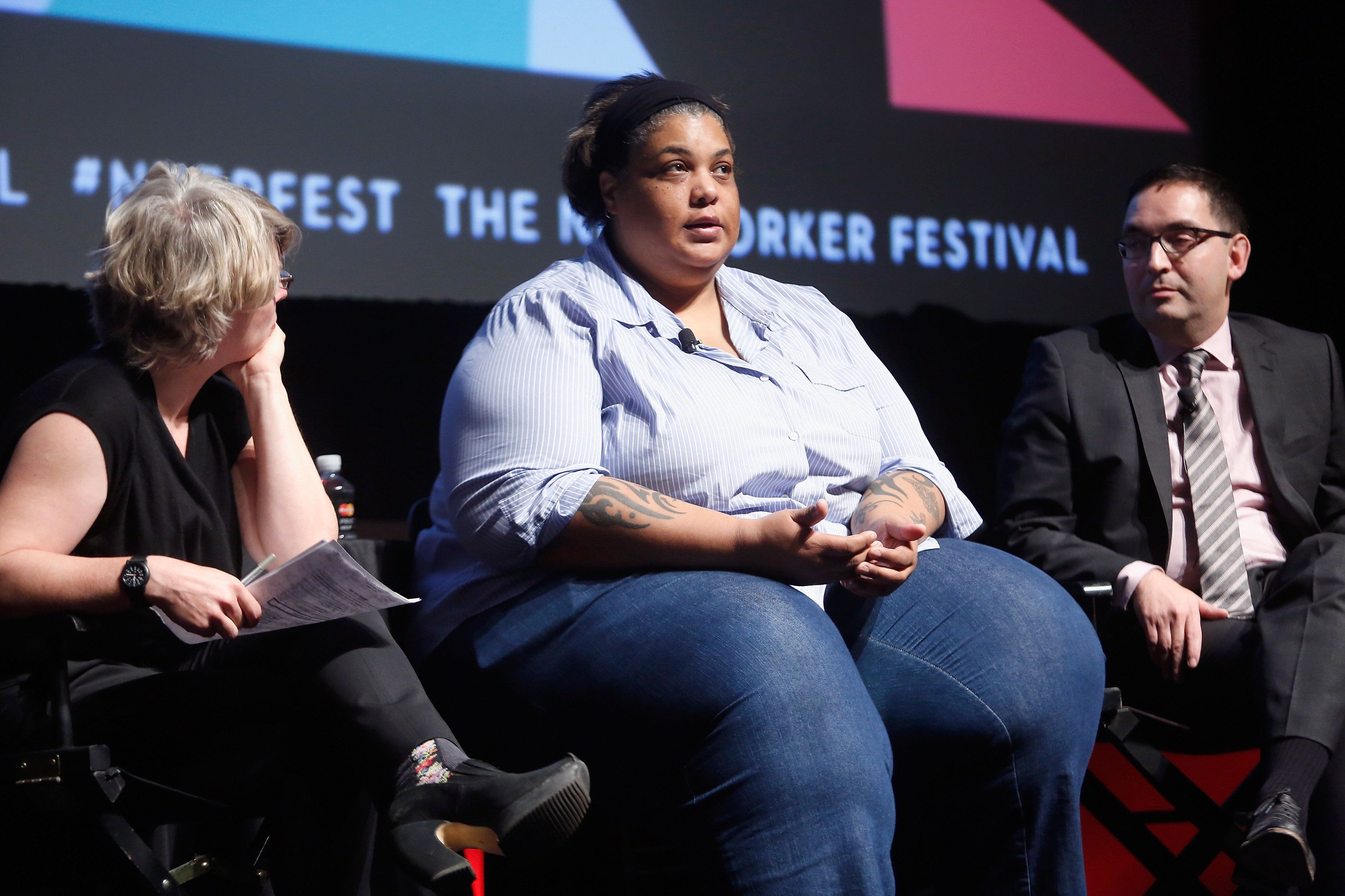 NEW YORK, NY - OCTOBER 04:  (L-R) The New Yorker staff writer Jill Lepore, writer Roxane Gay, and professor of history at Northwestern University Geraldo Cadava speak onstage at The Hillary Question during The New Yorker Festival 2015 at SVA Theater on October 4, 2015 in New York City.  (Photo by Thos Robinson/Getty Images for The New Yorker)