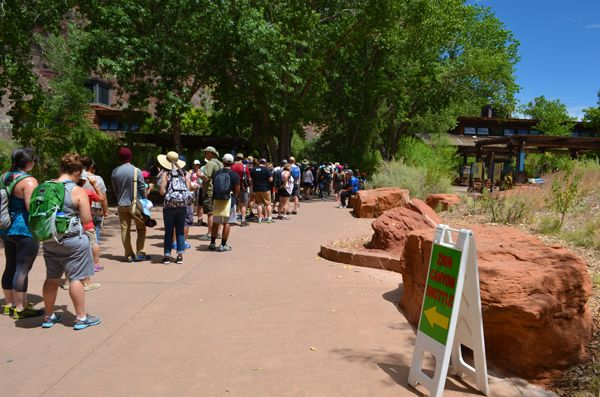 The line for the canyon shuttle had a 2-hour wait at Zion National Park on July 2, 2016