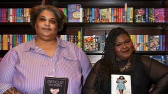 LOS ANGELES, CA - MAY 08:  Author/Professor/Writer Roxanne Gay (L) and actor/author Gabourey Sidibe attend the book signing and discussion for 'This is Just My Face: Try Not To Strare' at Barnes & Noble at The Grove on May 8, 2017 in Los Angeles, California.  (Photo by Brandon Williams/Getty Images)