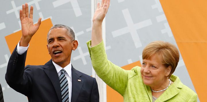 Chancellor Merkel and former U.S. President Obama at the German Protestant 'Kirchentag', Berlin, May 2017.