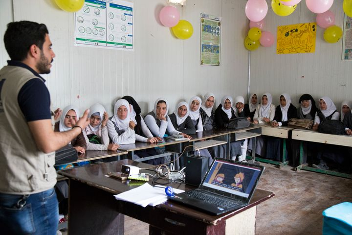 International Medical Corps' community health team hosts an education event at a girls' school in Gogjali, a neighborhood in