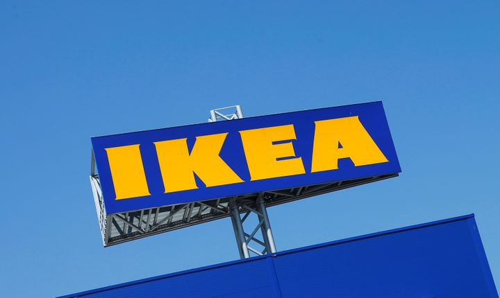 The Ikea logo is seen above a store in Voesendorf, Austria, April 24, 2017