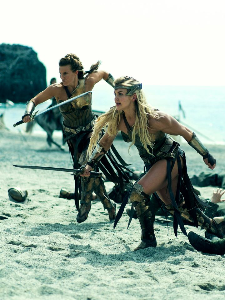 """Madeleine Vall Beijner and Brooke Ence during the first fight scene in """"Wonder Woman."""""""
