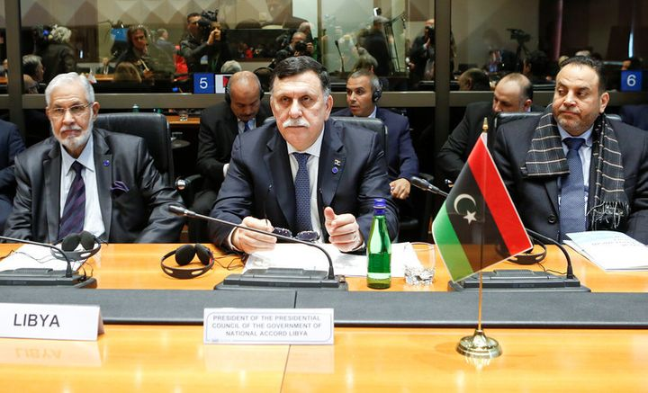 Libyan Prime Minister Faiez Mustafa Serraj (centre) at a meeting in Rome in March 2017.