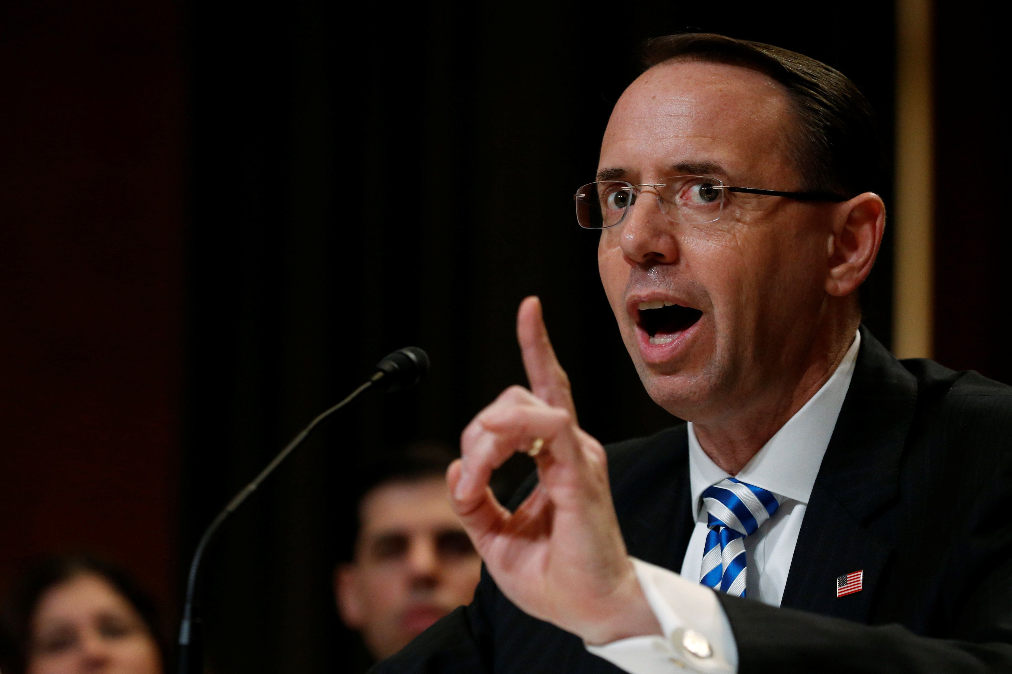 Deputy U.S. Attorney General Rod Rosenstein testifies about the Justice Department's budget before a subcommittee hearing of