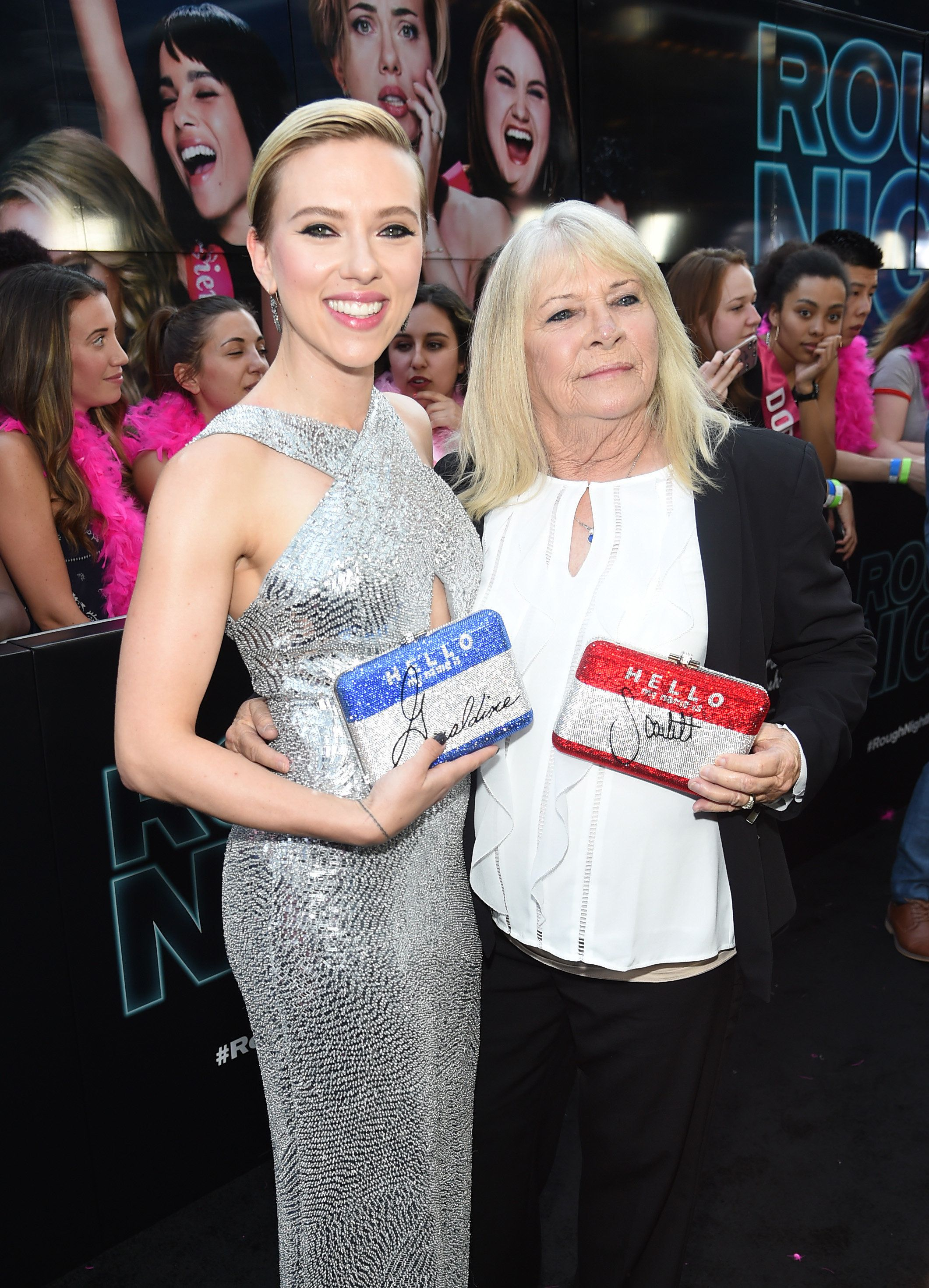 "Scarlett Johansson and Geraldine Dodd at the New York Premiere of ""Rough Night,"" June 12, 2017."