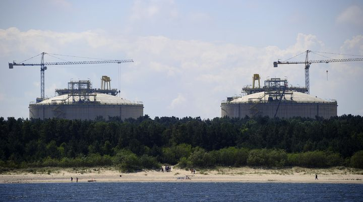 Poland's first liquefied natural gas terminal, in the Baltic port of Swinoujscie,, under construction in 2014.