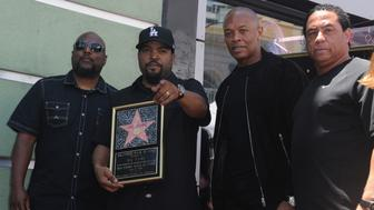 HOLLYWOOD, CA - JUNE 12:  (L-R) MC Red, Ice Cube, Dr Dre and DJ Yella of N.W.A  at Ice Cube's  Star On The Hollywood Walk Of Fame Ceremony held on June 12, 2017 in Hollywood, California.  (Photo by Albert L. Ortega/Getty Images)