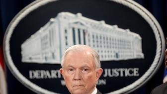 WASHINGTON, DC - MAY 12:  U.S. Attorney General Jeff Sessions speaks during an event at the Justice Department May 12, 2017 in Washington, DC. Sessions was presented with an award 'honoring his support of law enforcement' by the Sergeants Benevolent Association of New York City during the event, but did not comment on recent events surrounding the firing of FBI Director James Comey.  (Photo by Win McNamee/Getty Images)