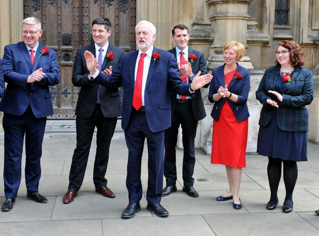 PA Wire  PA Images Jeremy Corbyn welcomes the six new Scottish Labour MPs to Parliament