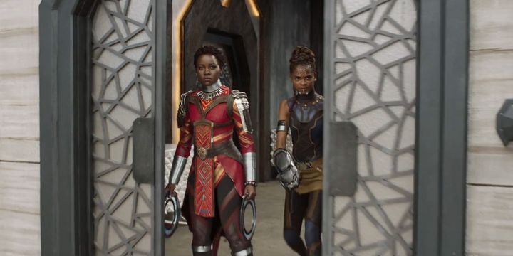 Lupita Nyong'o and Letitia Wright in traditional Wakandan garb.
