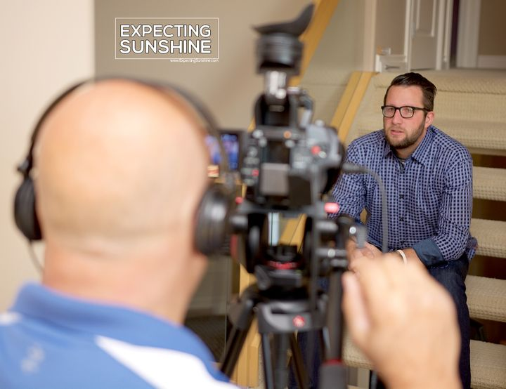 <p>Aaron Chute being interviewed for Expecting Sunshine: The Truth About Pregnancy After Loss documentary film. </p>