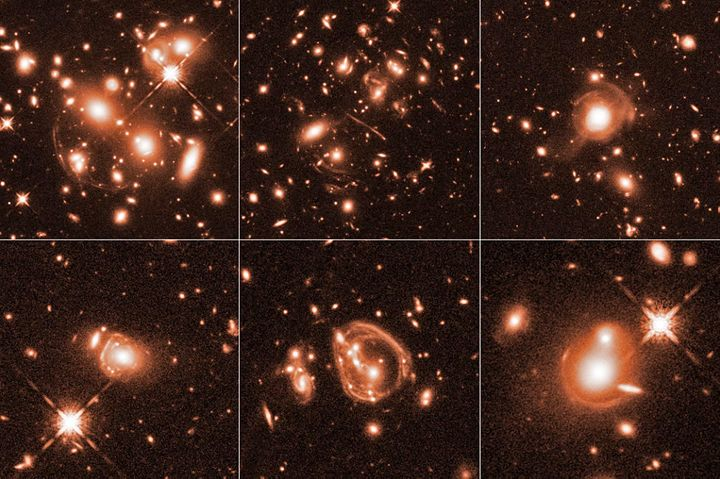 These six Hubble Space Telescope images reveal a jumble of misshapen-looking galaxies punctuated by exotic patterns, such as