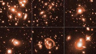 These six Hubble Space Telescope images reveal a jumble of misshapen-looking galaxies punctuated by exotic patterns such as arcs streaks and smeared rings The images have been magnified by an effect called gravitational lensing Some these odd shapes may have been produced by spectacular collisions between faraway galaxies
