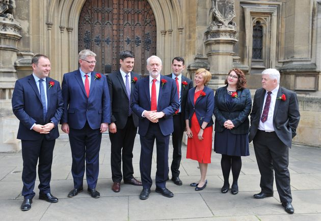 Jeremy Corbyn with Labour's newly elected Scottish