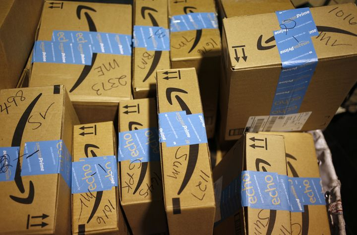 Amazon.com Inc. packages inside a post office in Shelbyville, Kentucky. The online giant is attempting to take a bi