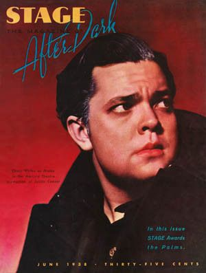 Orson Welles in his 1938 Mercury Theater production of <em>Caesar</em>