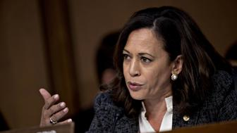 Senator Kamala Harris, a Democrat from California, questions James Comey, former director of the Federal Bureau of Investigation (FBI), not pictured, during a Senate Intelligence Committee hearing in Washington, D.C., U.S., on Thursday, June 8, 2017. Comey in prepared remarks to the committee said U.S. President Donald Trump sought his loyalty and urged him to drop the investigation into former National Security Advisor Michael Flynn. Photographer: Andrew Harrer/Bloomberg via Getty Images