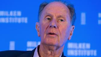 David Bonderman, co-founder and chairman of TPG Holdings LP, speaks at the Milken Institute Asia Summit in Singapore, on Friday, Sept. 16, 2016. Chief executive officers, senior government officials and leading figures in the global capital markets convened at the global conference summit in Asia. Photographer: SeongJoon Cho/Bloomberg via Getty Images
